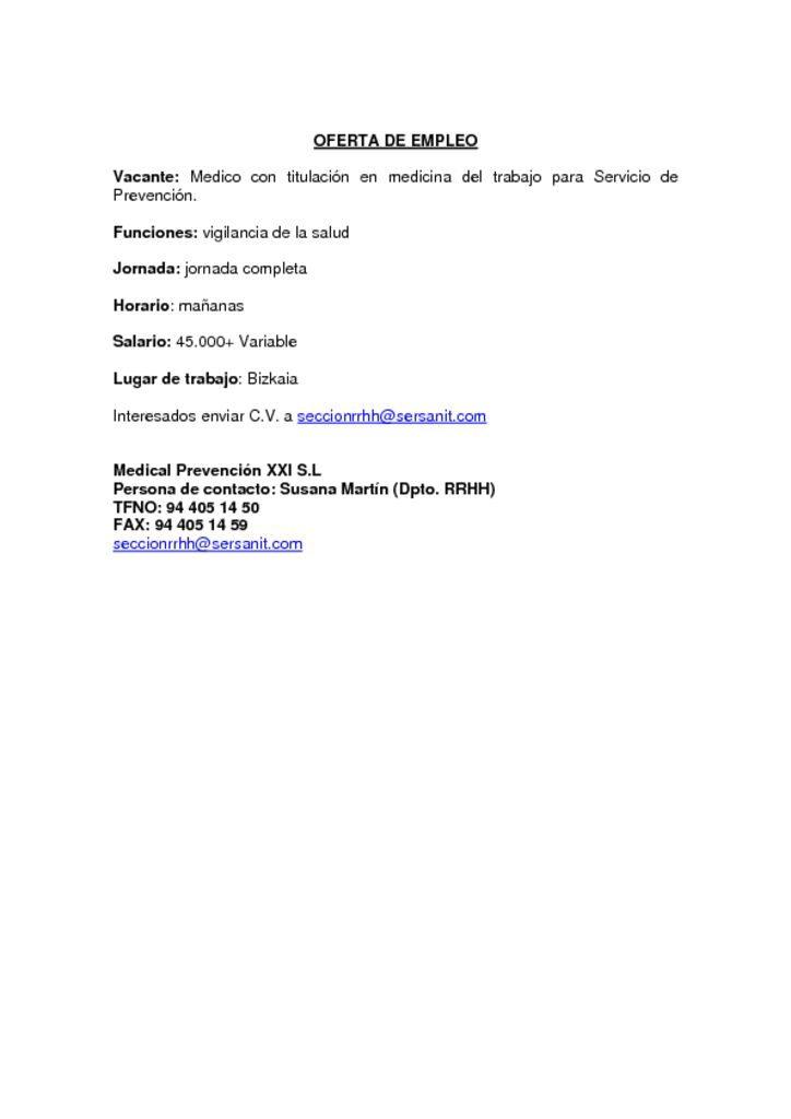thumbnail of OFERTA DE EMPLEO MEDICO ESPECIALISTA MEDICINA DEL TRABAJO BIZKAIA