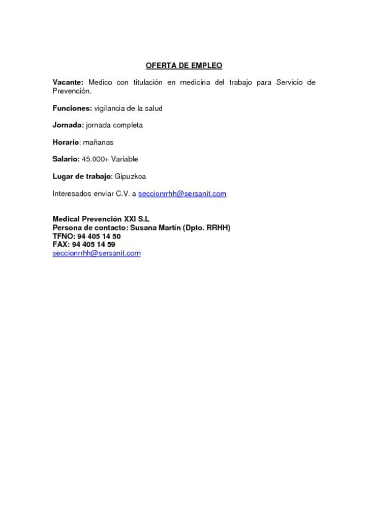 thumbnail of OFERTA DE EMPLEO MEDICO ESPECIALISTA MEDICINA DEL TRABAJO GIPUZKOA